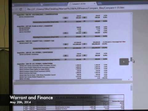 Warrant and Finance - 05-20-2014