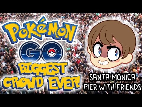 Pokemon GO - BIGGEST CROWD EVER!!! (Santa Monica Pier)