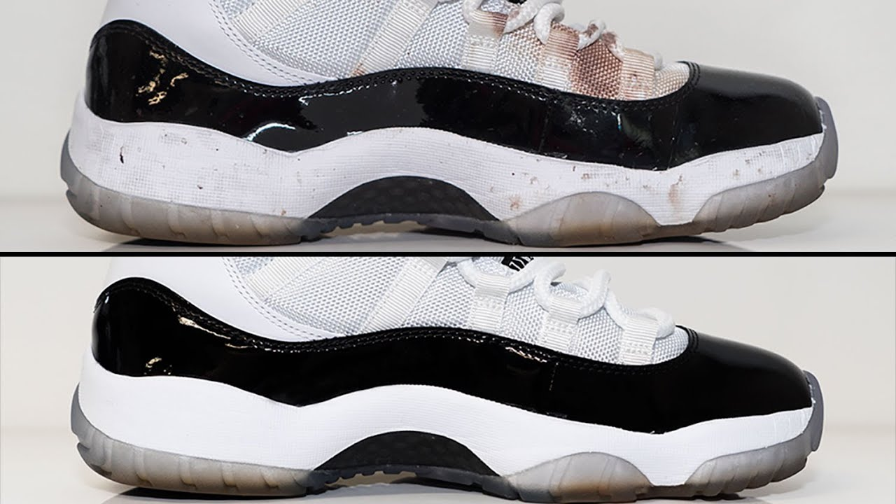 29a27482232 Air Jordan 11 Concord - How to deep clean stained White mesh - YouTube