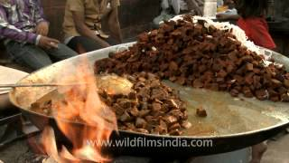 Delicate, meaty, chewy beef being sold by Hindu at Chandni Chowk