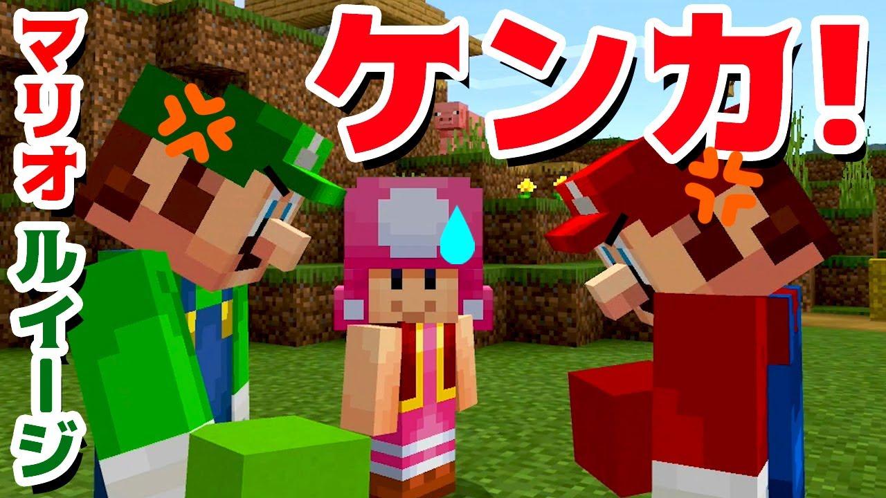【ゲーム遊び】マリオとルイージのケンカ! マインクラフト マイクラ【アナケナ&カルちゃん】Minecraft