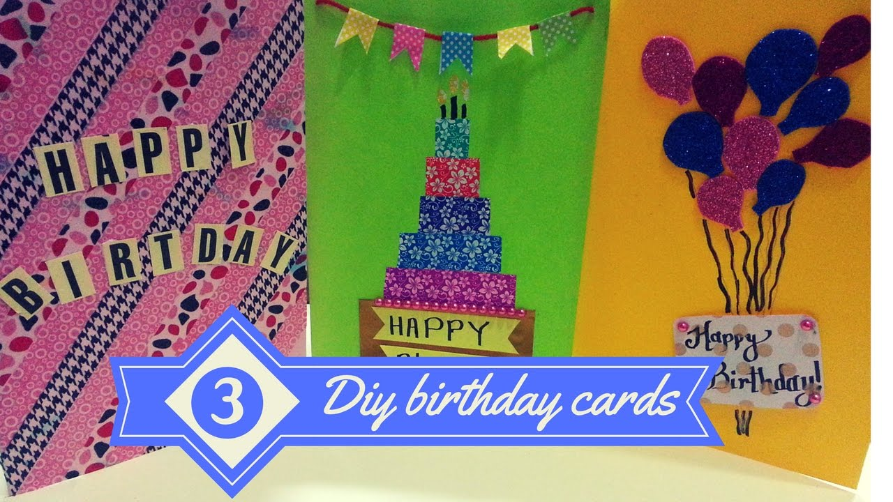 Charming Ideas For Making Birthday Cards For Friends Part - 11: DIY- 3 Easy Greeting Card Ideas.!|Birthday Cards For Best Friends |greeting  Cards| - YouTube