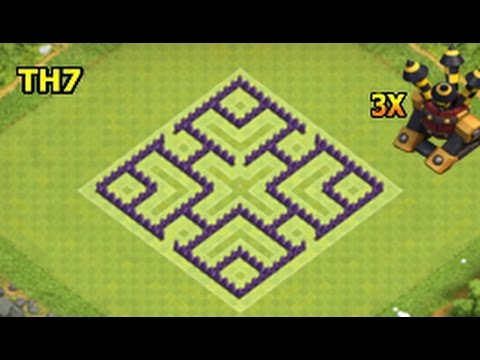 Clash Of Clans Town Hall 7 Base Layout Best Defense Farming Trophy Youtube