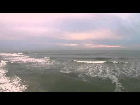 Over the Surf at Lori Wilson Park After the Fog Aerial Drone Video