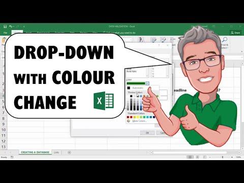 Excel Drop Down List Including Cell Colour Change: Colour Fill