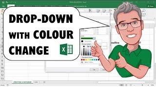 Excel من القائمة المنسدلة بما في ذلك الخلايا تغير لون: لون التعبئة
