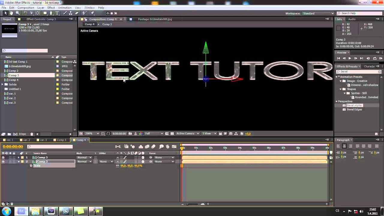 how to make 3d text in after effects