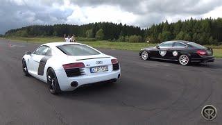 Audi R8 V8 vs Mercedes C63 AMG - Drag Race!