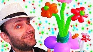 Ваза с цветами из шариков на стол или пол аэродизайн ★ vase from balloons