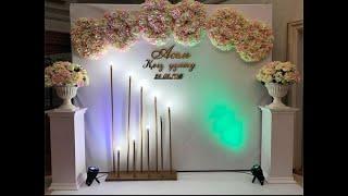 Пресс стена из цветов на свадьбу