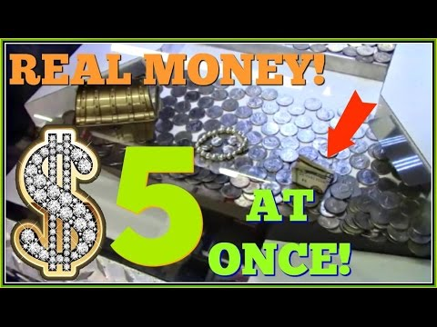 Real Money Win Arcade Coin Pusher $20 Challenge $5 At Once! Arcadejackpotpro
