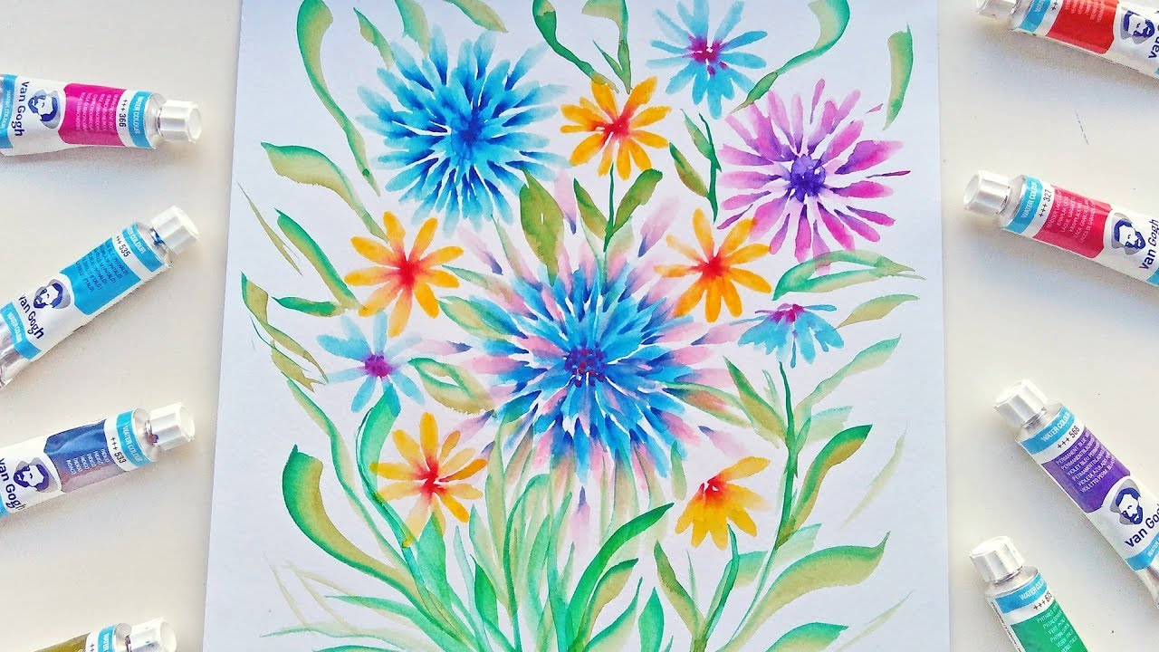 Watercolor Flowers And Paint Brushes: Abstract Watercolor Flowers Painting