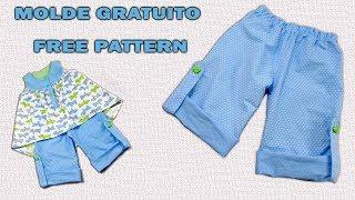Como Fazer Bermuda Pantalona de 18 Meses a 7 Anos