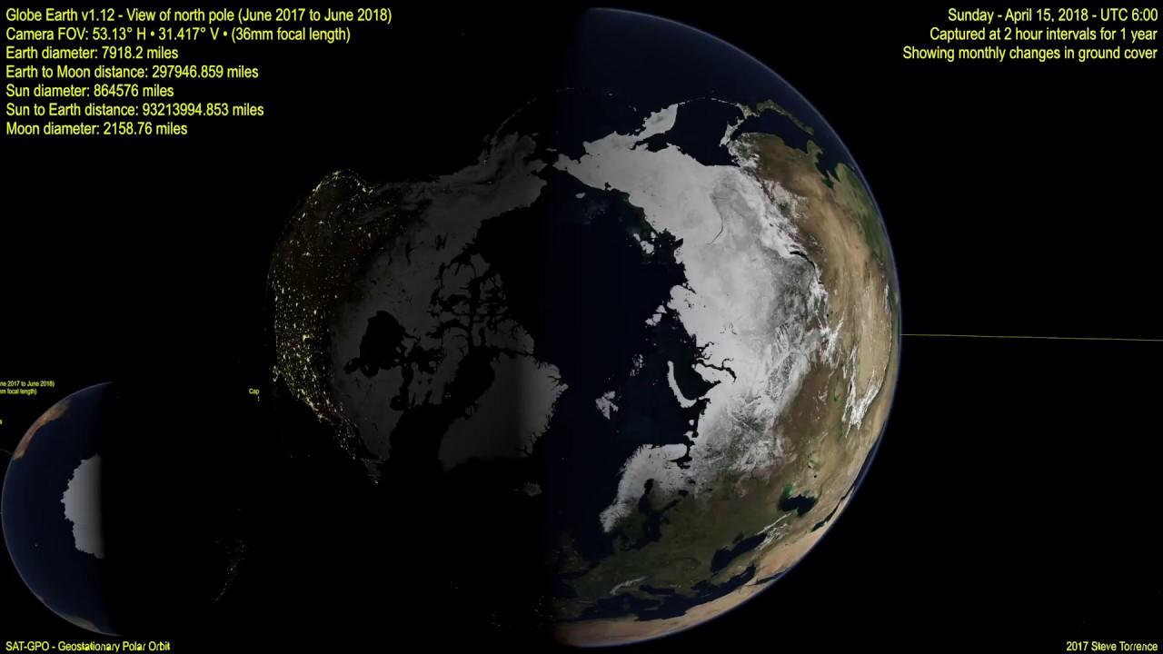 Global Earth North Pole vs South Pole snow coverage ...