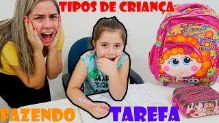 TIPOS DE CRIANÇA FAZENDO LIÇAO DE CASA