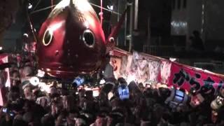 唐津くんち、宵山、四番源義経の兜、五番鯛、2011.