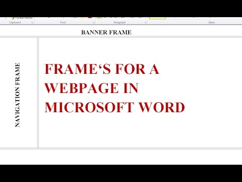 How to Make Frames for a \'website\' in Microsoft Word in 1 min. - YouTube