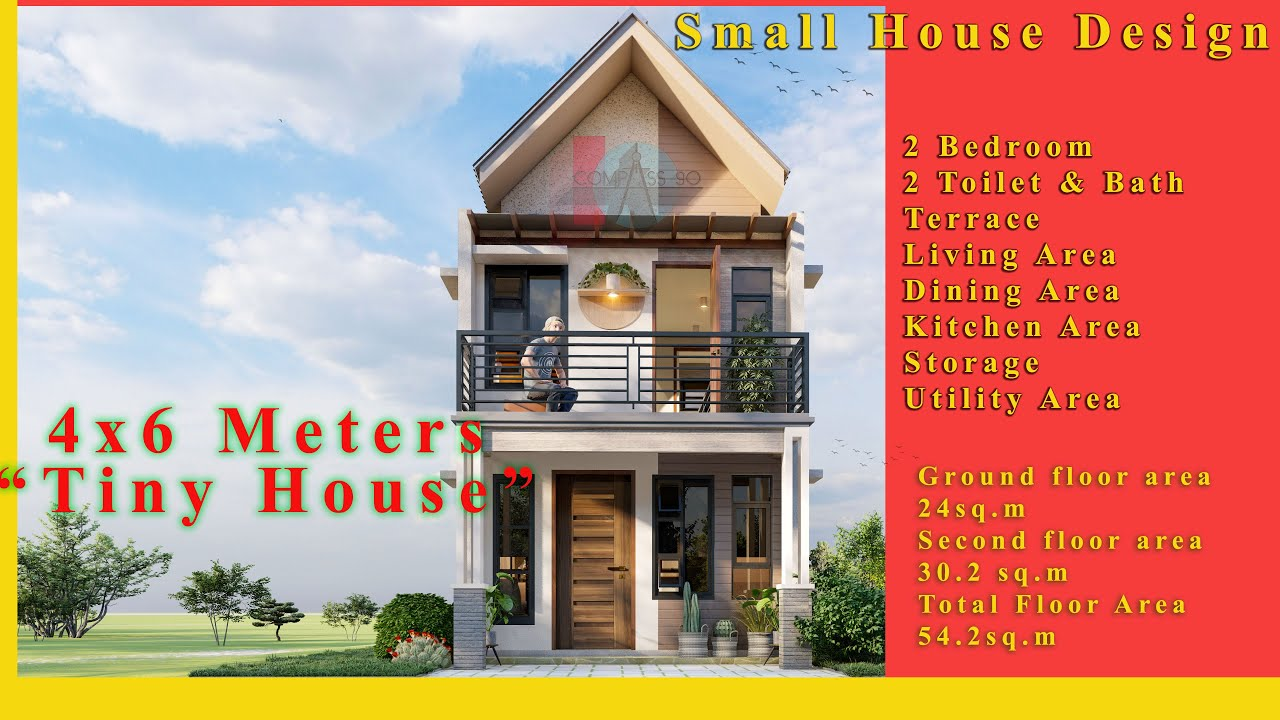 Two Storey Small House Design 4x6 Meters W 2 Bedroom And 2 T B Youtube