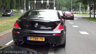 2x BMW M6 E63 w/ Hamann exhaust + 2x C63 (iPE): LOUD Accelerations, Revvs & Downshifts