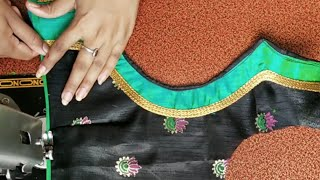 Very beautiful patchwork blouse back neck design cutting and stitching /blouse designs