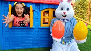 Gamze and Rabbit Man Learn Colors With Nursery Rhymes Song and Easter Egg