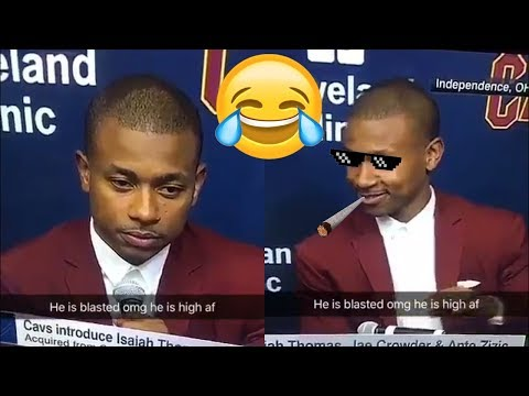 LOL! Isaiah Thomas Shows Up to Cavs Press Conference HIGH AF