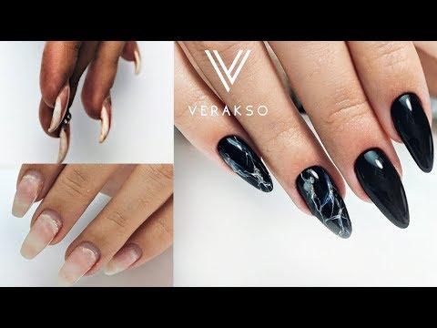Черный мрамор на ногтях