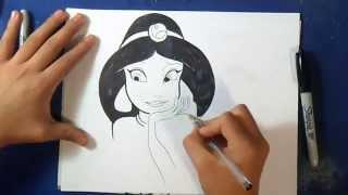 "Cómo dibujar a la Princesa Jazmin ""Aladino"" | How to Draw Princess Jazmin"