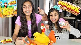 Squawk Chicken Egg Fun family Game for kids!! Chocolate Kinder egg Surprise