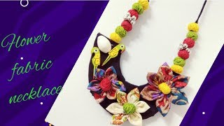 Fabric flower making /trendy fabric flower necklace making