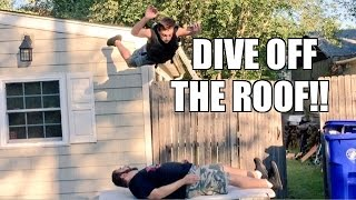 insane dive off roof birthday party table match backyard pro wrestling action