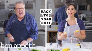 Download Eric Stonestreet Tries to Keep Up With a Professional Chef | Back-to-Back Chef | Bon Appétit Mp3 and Videos