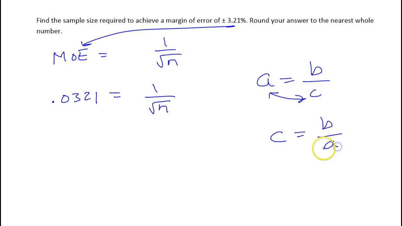 7 How to find the sample size needed to achieve a given margin of ...