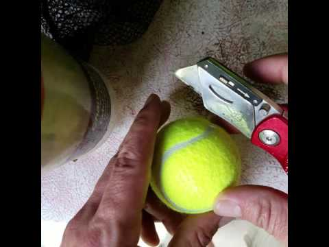 How to cut holes in tennis balls for walkers, chairs, etc the common sense way.
