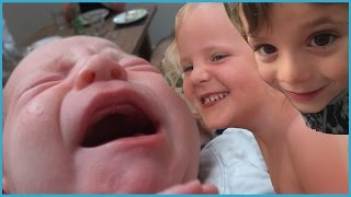 24 Hours with a Newborn Baby and 2 Kids