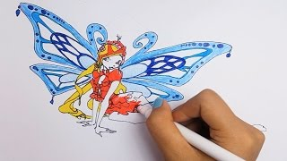 Learning color How to Draw and Color Butterfly princess ❤  Learning Colouring Video  Caterpillar