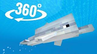 🐬 360 video Dolphins VR Minecraft underwater swimming \u0026 snorkeling experience 4K