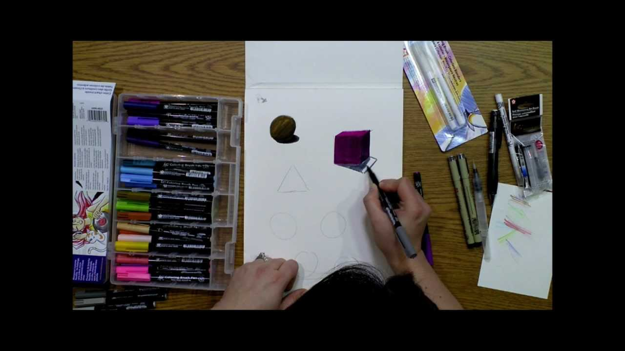 Basic Shapes & Shading with Sakura Koi Coloring Brush & Water ...