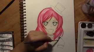 Drawing/ Watercoloring Maki Nishikino from Love Live School Idol Project!
