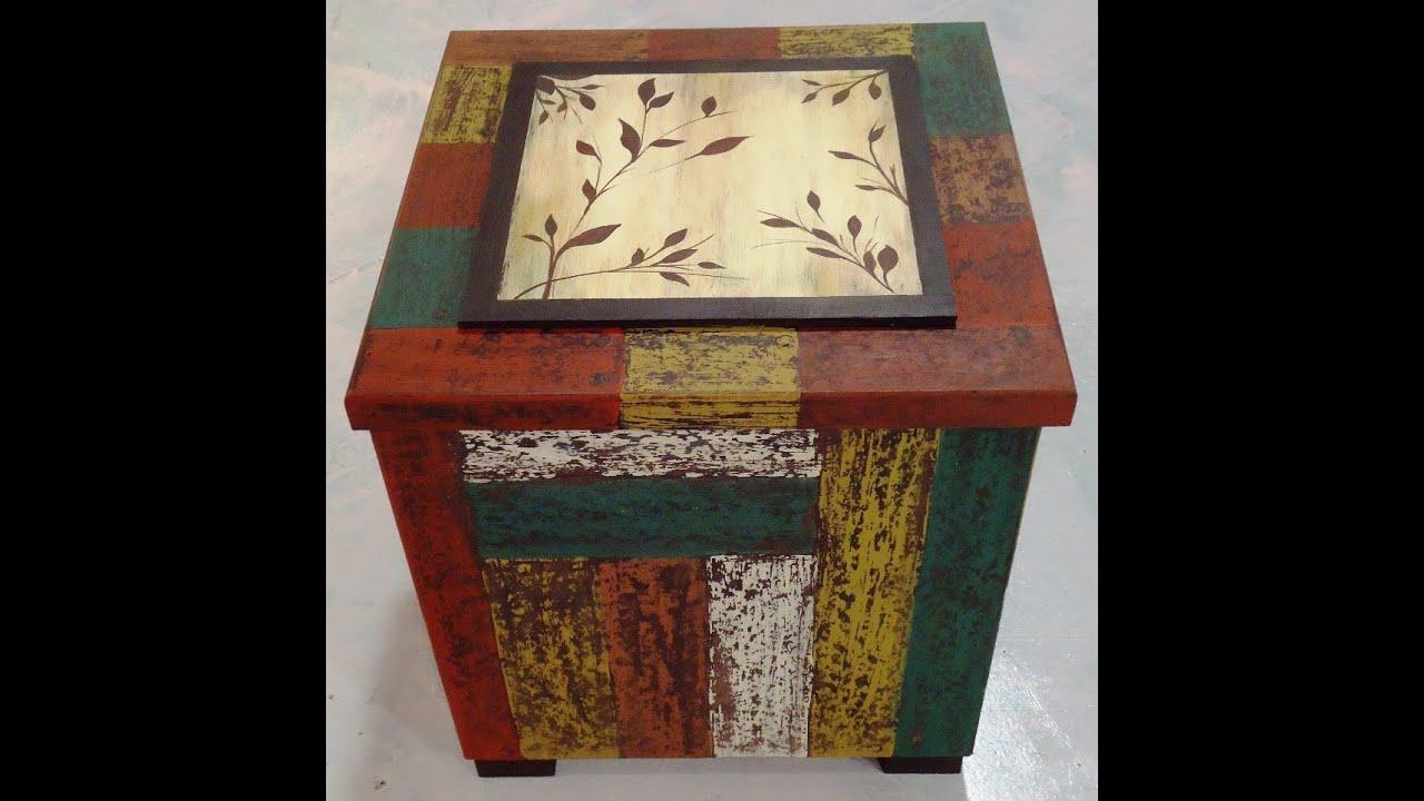 Como hacer decapado en una caja con imitaci n de madera for Papel imitacion madera para muebles