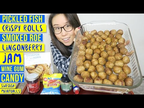 Swedish Food MUKBANG ● Raw Herring, Meatballs, Lingonberry Jam & more