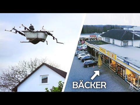 Mit der FLIEGENDEN BADEWANNE zum BÄCKER! | Bemannte Drohne #4