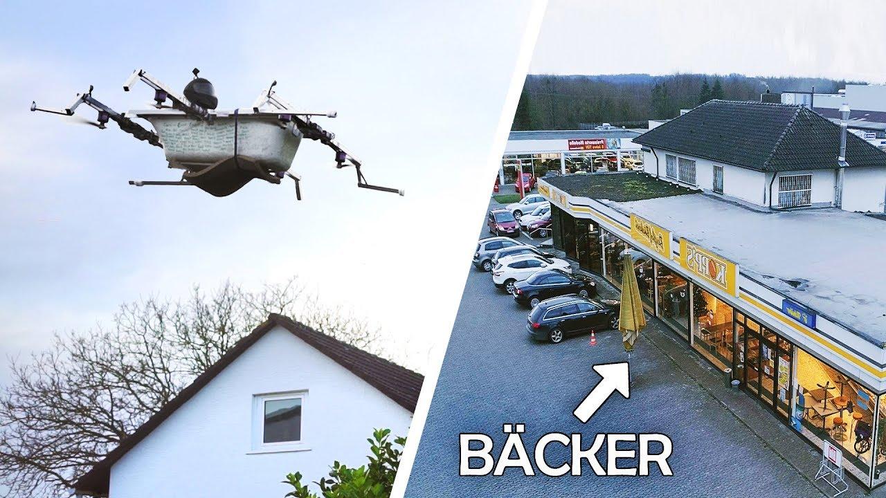 Download Mit der FLIEGENDEN BADEWANNE zum BÄCKER! | Bemannte Drohne #4