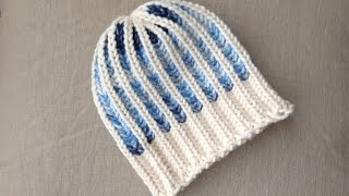 How to Loom Knit a Bicolor Brioche Stitch Hat (DIY Tutorial)