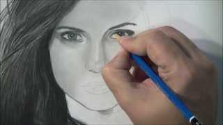 Speed Drawing Nina Dobrev Portrait - Elena Gilbert from The Vampire Diaries