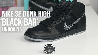 Premio Alojamiento Discreto  Black Bar x Nike SB Dunk High Pro Sneaker Unboxing - YouTube