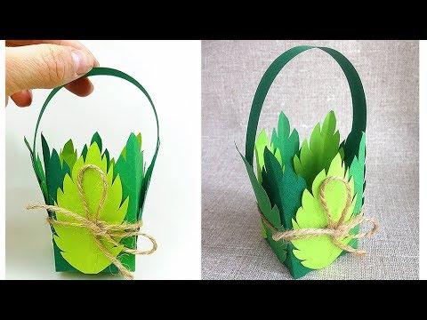 Basket of leaves with paper for Easter decorations, for home decor / crafts for kids. Paper leaves