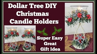 Dollar Tree DIY 🎄 Christmas Candle Holders 🎄 Great Gift Idea