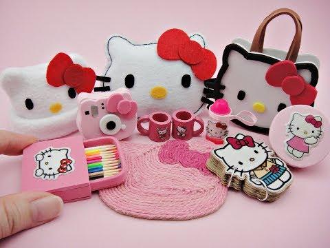 10 DIY Miniatures Hello Kitty Accessories - Bag, Pillow Cushion, Instax, Lunch Box, Hat, Rug etc