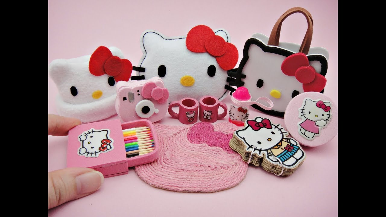 6d3b6abaf 10 DIY Miniatures Hello Kitty Accessories - Bag, Pillow Cushion, Instax,  Lunch Box, Hat, Rug etc